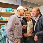 Gespräch im Shop mit Axel Schulz (links) und Mika Häkkinen (Mitte)