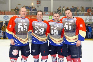 Eishockey-Helden der guten alten Zeit: Michael Mai, Kerry Goulet, Marcus Krützfeldt, Korbinian Witting