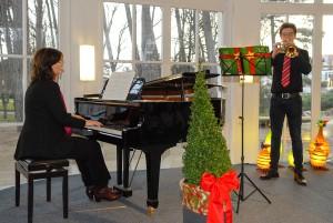 Stimmungsvolle Musik in der Rotunde: Gabriele Pott (Klavier) mit Paul Pfeiffer (Trompete)