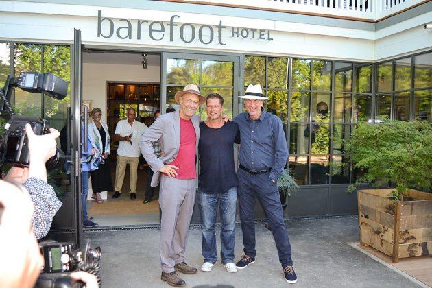 Heiner Lauterbach, Til Schweiger und Herbert Knaup vor dem barefoot-Eingang © Katrin Gehrke