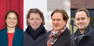 Sie kandidieren für das Amt des Bürgermeisters in Timmendorfer Strand: Hatice Kara (amtierende Bürgermeisterin), Robert Wagner, Dieter Metz, Sven Markus Kockel (v.l.).