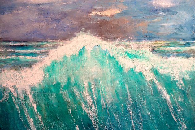 Die perfekte Welle - eindrucksvoll festgehalten in Acryl auf Leinwand.