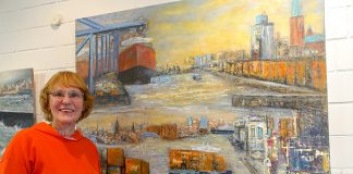 Hamburger Hafen mit den typischen Elementen, porträtiert in Acryl auf Leinwand von Gabriele Schau.