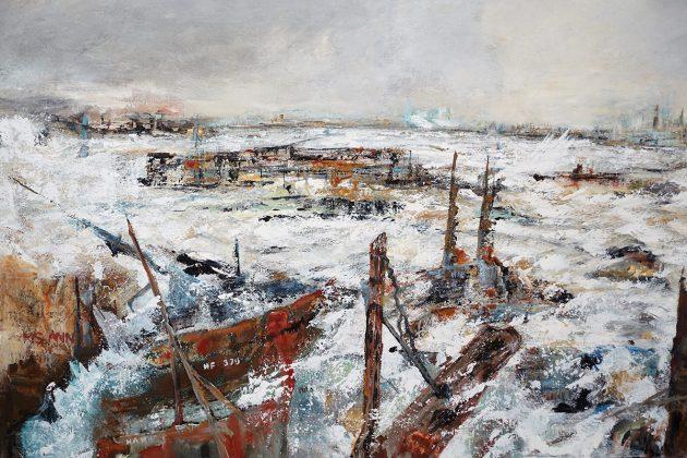 Tosende Wellen, Gischt und wildes Meer: Eindrucksvolles Gemälde von Gabriele Schau.